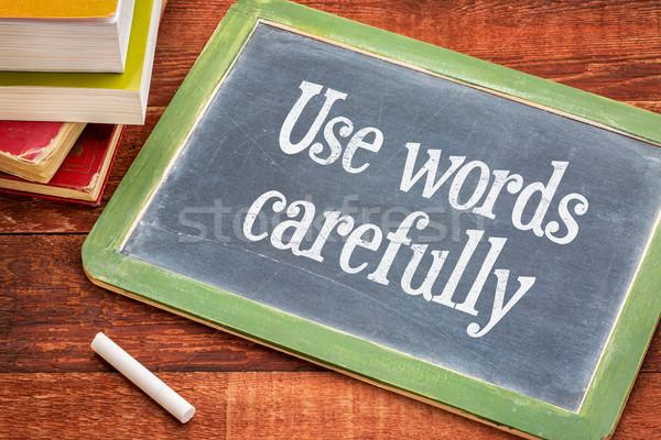 Woorden voorzichtig Blackboard tekst witte Stockfoto © PixelsAway