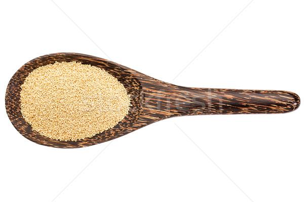 Sin gluten grano cuchara de madera aislado blanco Foto stock © PixelsAway