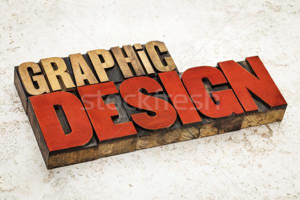 Design graphique bois type texte vintage Photo stock © PixelsAway