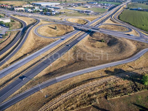 Autobahn Kreuzung Luftbild Autobahn 14 Festung Stock foto © PixelsAway