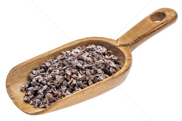 Rustiek schep cacao houten geïsoleerd witte Stockfoto © PixelsAway