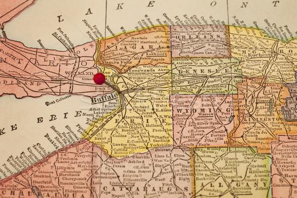 Vintage kaart New York 1920 Rood selectieve aandacht Stockfoto © PixelsAway