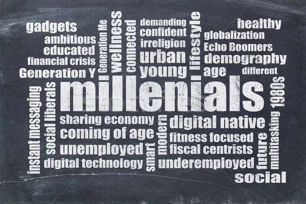 millenials word cloud on blackboard Stock photo © PixelsAway
