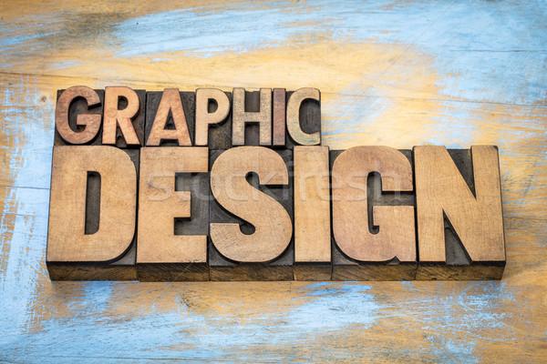Grafisch ontwerp woord abstract hout type typografie Stockfoto © PixelsAway