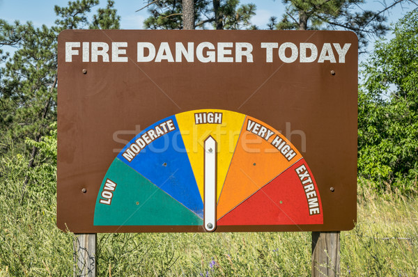 Hoog brand gevaar kant van de weg teken Stockfoto © PixelsAway