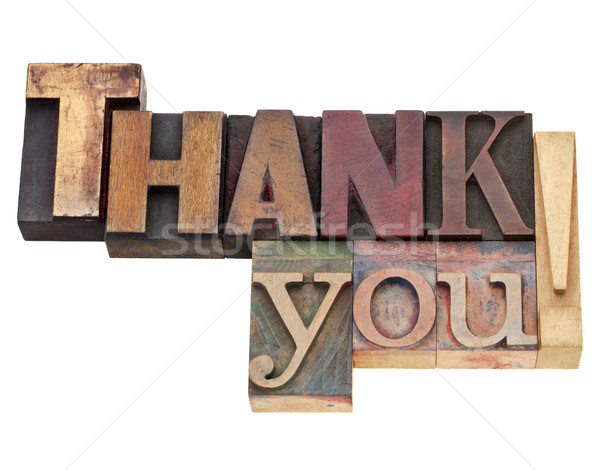thank you in letterpress type Stock photo © PixelsAway