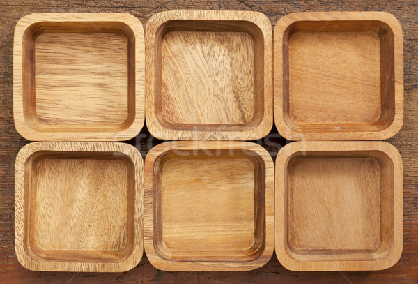 six square wooden bowls Stock photo © PixelsAway