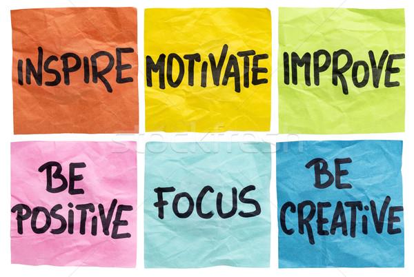 Inspirál motivál javít jegyzetek pozitív fókusz Stock fotó © PixelsAway