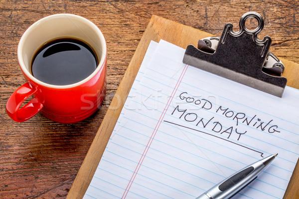 Bonjour presse-papiers écriture faible tasse café Photo stock © PixelsAway