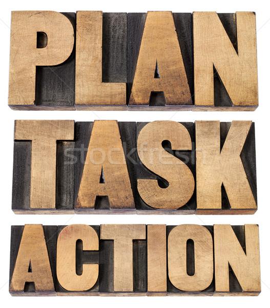 Plan tarea acción palabra tipo collage Foto stock © PixelsAway