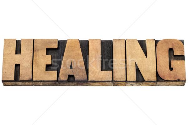 Curación palabra madera tipo aislado texto Foto stock © PixelsAway