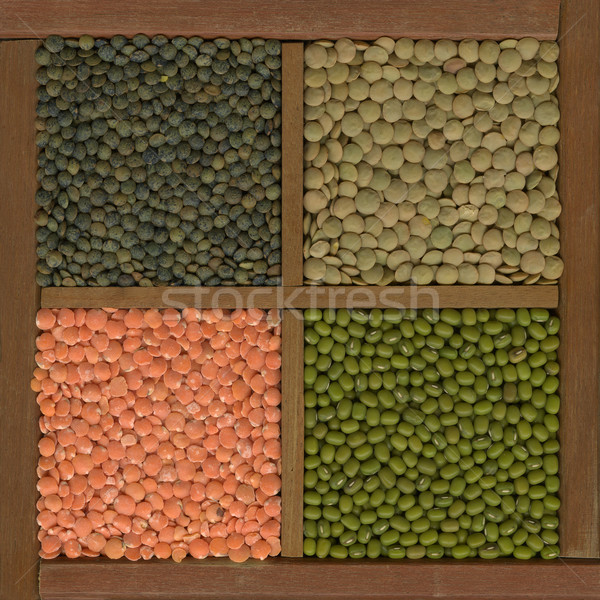 mung bean and lentils (red, green, French) in a box Stock photo © PixelsAway