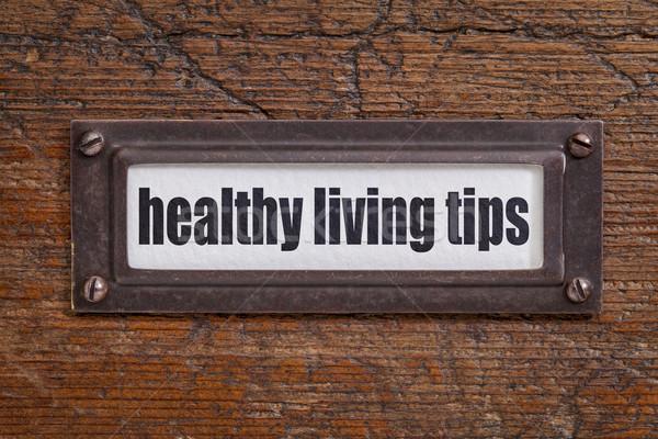 Sağlıklı yaşam dosya dolap etiket bronz Stok fotoğraf © PixelsAway