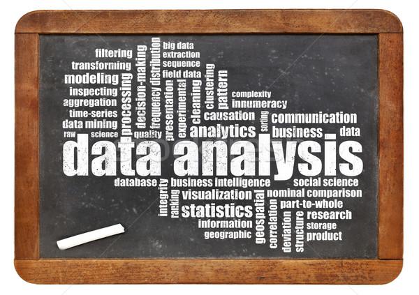 Gegevens analyse woordwolk Blackboard business wetenschap Stockfoto © PixelsAway