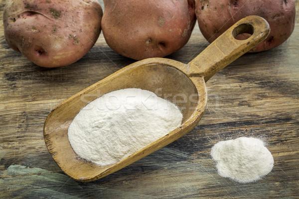 Stok fotoğraf: Patates · un · ahşap · rustik · kepçe