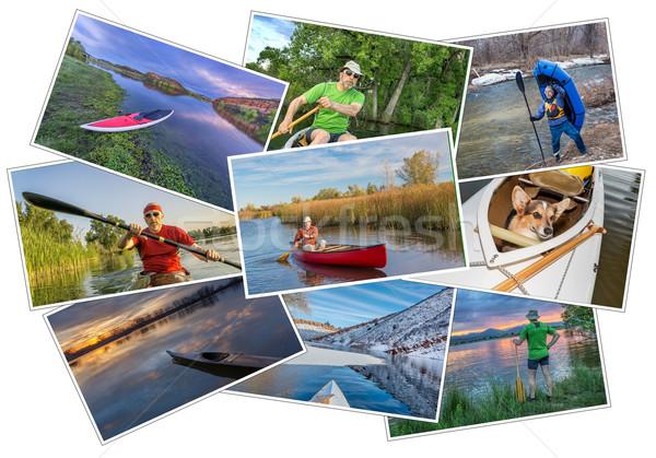 paddling kayak, canoe and SUP picture set Stock photo © PixelsAway