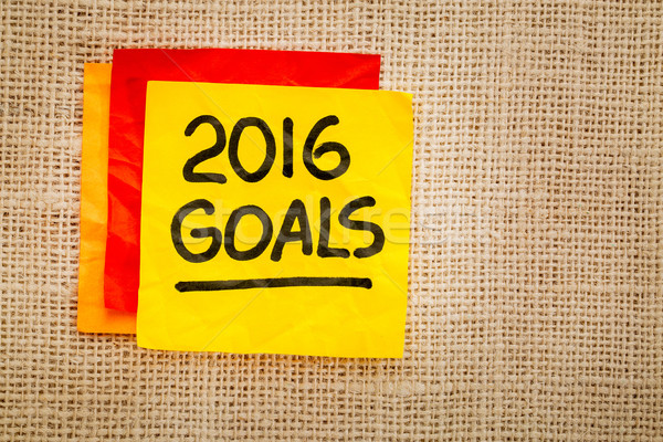 2016 New Year goals on sticky note Stock photo © PixelsAway