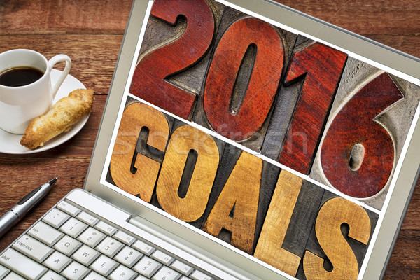 2016 goals in letterpress wood type Stock photo © PixelsAway