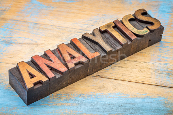 Analytics mot bois type typographie texte Photo stock © PixelsAway