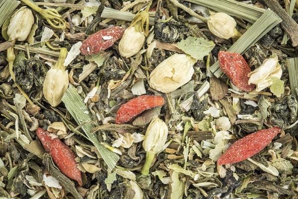 Immúnis gyógynövény tea közelkép krizantém virág citrom Stock fotó © PixelsAway