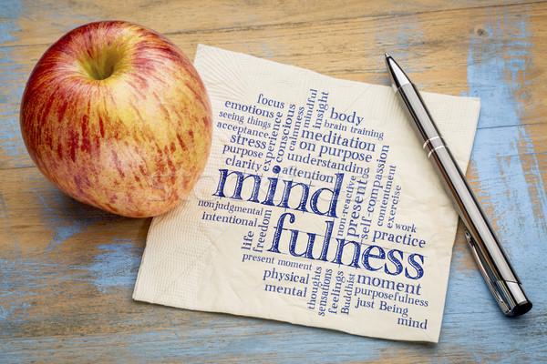 mindfulness word cloud on napkin Stock photo © PixelsAway