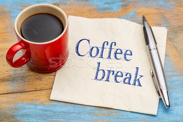Stock fotó: Kávészünet · szalvéta · kézírás · iroda · pihen