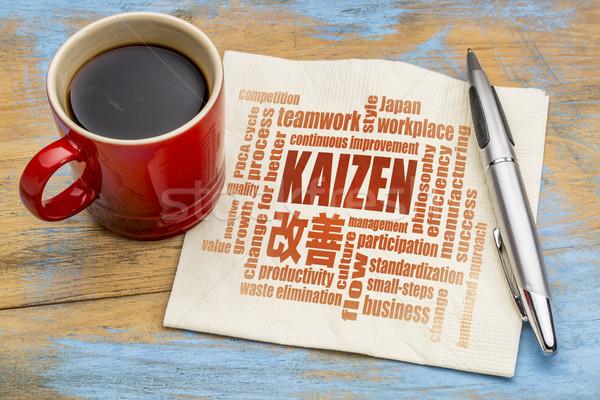 Kaizen concept -  continuous improvement word cloud Stock photo © PixelsAway