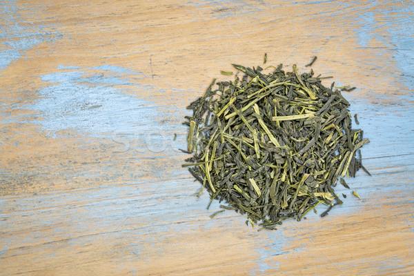 Thé vert détacher feuille tas grunge bois Photo stock © PixelsAway