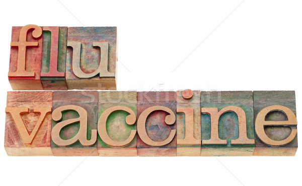 Photo stock: Grippe · vaccin · type · isolé · texte