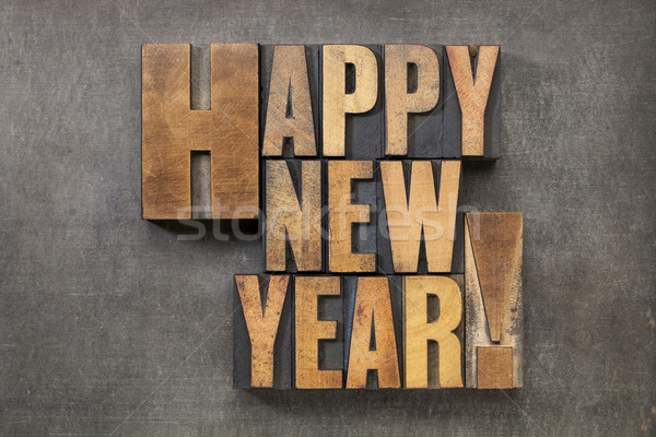 Happy new year texte vintage bois type Photo stock © PixelsAway