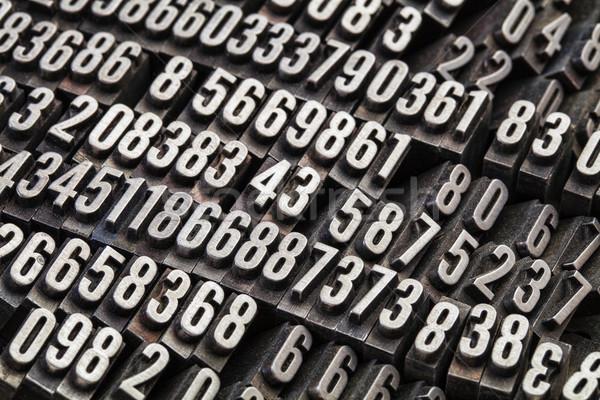 Rasgele sayılar Metal tip bağbozumu grunge Stok fotoğraf © PixelsAway