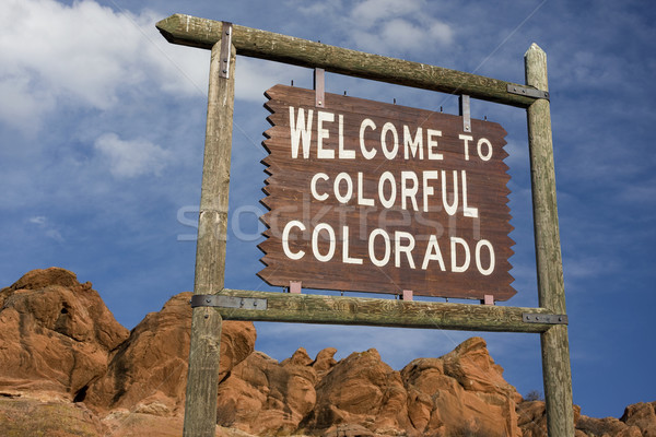 Colorado welkom teken kleurrijk kant van de weg Stockfoto © PixelsAway
