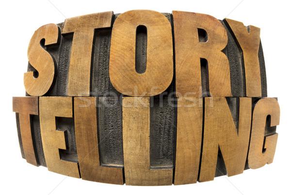 storytelling word in wood type Stock photo © PixelsAway