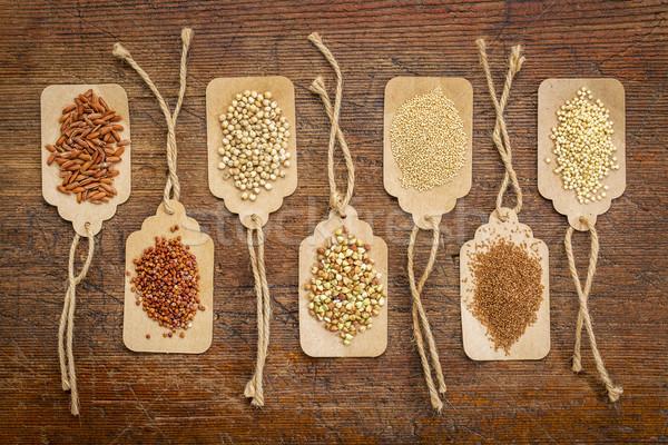 Saudável sem glúten abstrato marrom arroz Foto stock © PixelsAway