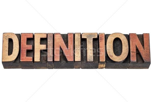 Definitie woord hout type typografie vintage Stockfoto © PixelsAway