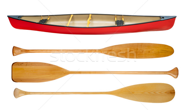 canoe and wooden paddles isolated Stock photo © PixelsAway
