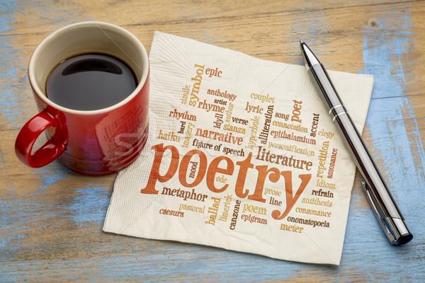 Poesie Wort-Wolke Serviette Tasse Kaffee Kunst Stock foto © PixelsAway