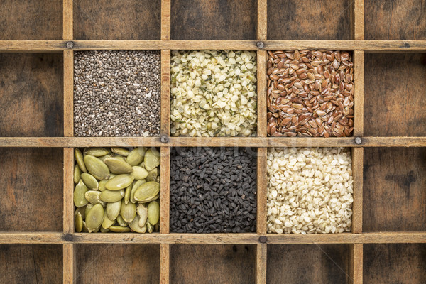 healthy seed collection in typesetter drawer Stock photo © PixelsAway