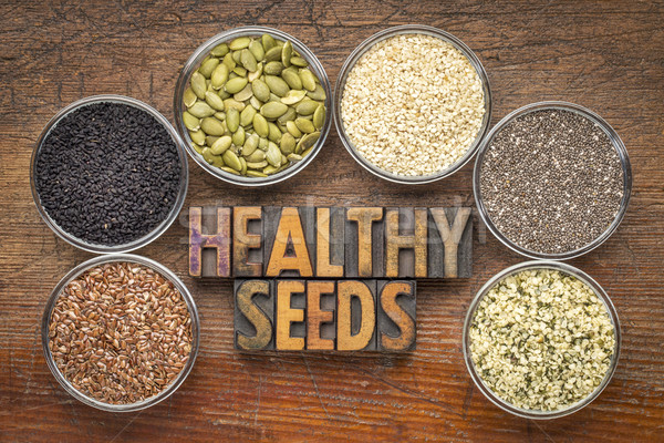 healthy seed collection in glass bowls Stock photo © PixelsAway