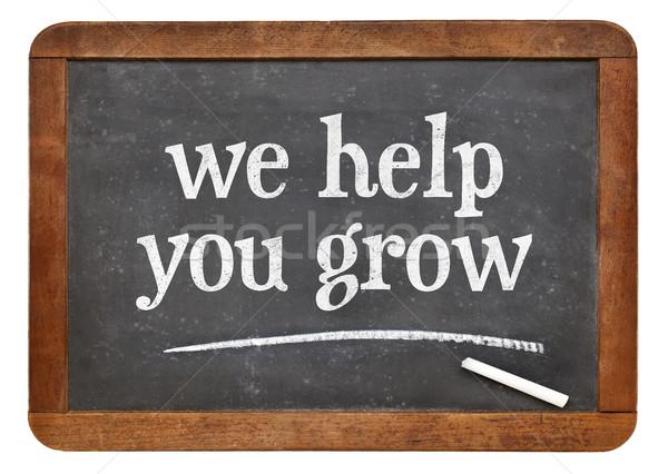 we help you grow blackboard sign Stock photo © PixelsAway