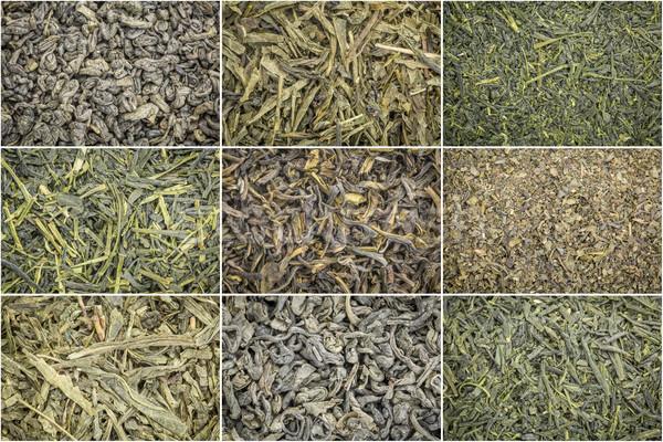Suelto hoja té verde collage nueve textura Foto stock © PixelsAway