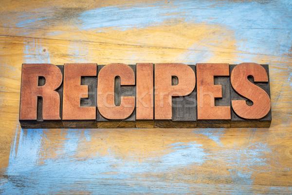 Recepten woord hout type banner Stockfoto © PixelsAway