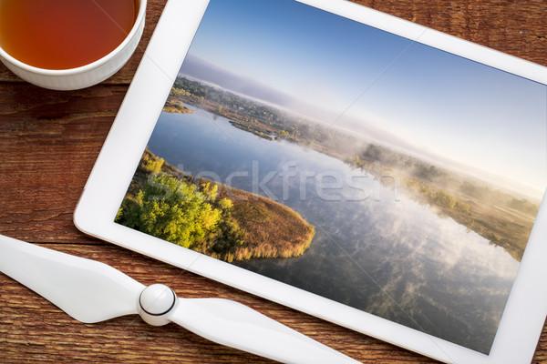 туманный озеро утра тумана Сток-фото © PixelsAway