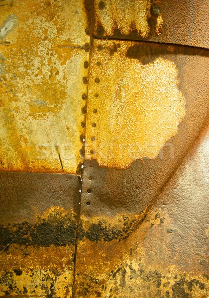 Rusted Metal Background with Rivet Holes and Seams Stock photo © pixelsnap