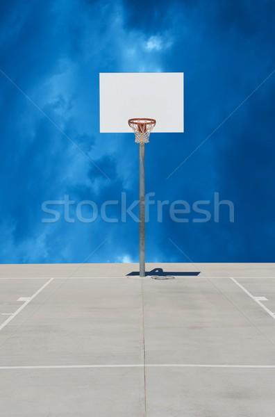белый баскетбол стандартный облачный оранжевый Сток-фото © pixelsnap