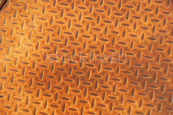 Rusted Metal Manhole Cover with Herringbone Pattern Stock photo © pixelsnap