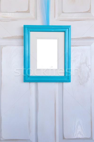 Türkiz képkeret akasztás fehér ajtó Stock fotó © pixelsnap