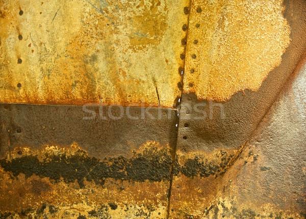 Rozsdás fém szegecs vízszintes koszos látható Stock fotó © pixelsnap