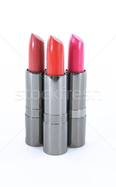 Tre rossetto isolato bianco rosa Foto d'archivio © pixelsnap