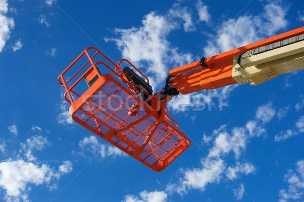 оранжевый строительство утилита лифт гидравлический используемый Сток-фото © pixelsnap